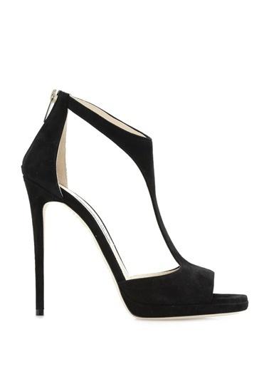 Jimmy Choo İnce Topuklu %100 Deri Sandalet Siyah